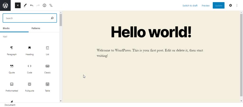 WordPress 5.8 Gutenberg Blocks