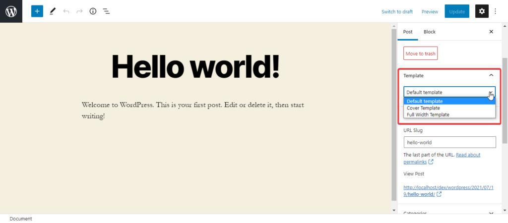 WordPress 5.8 Template Settings